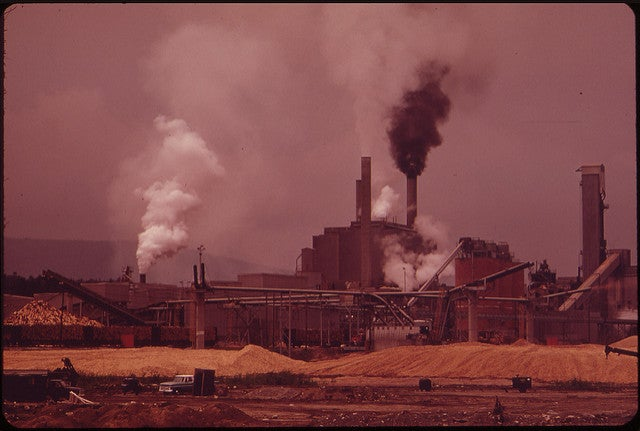 smoke billows from paper mill