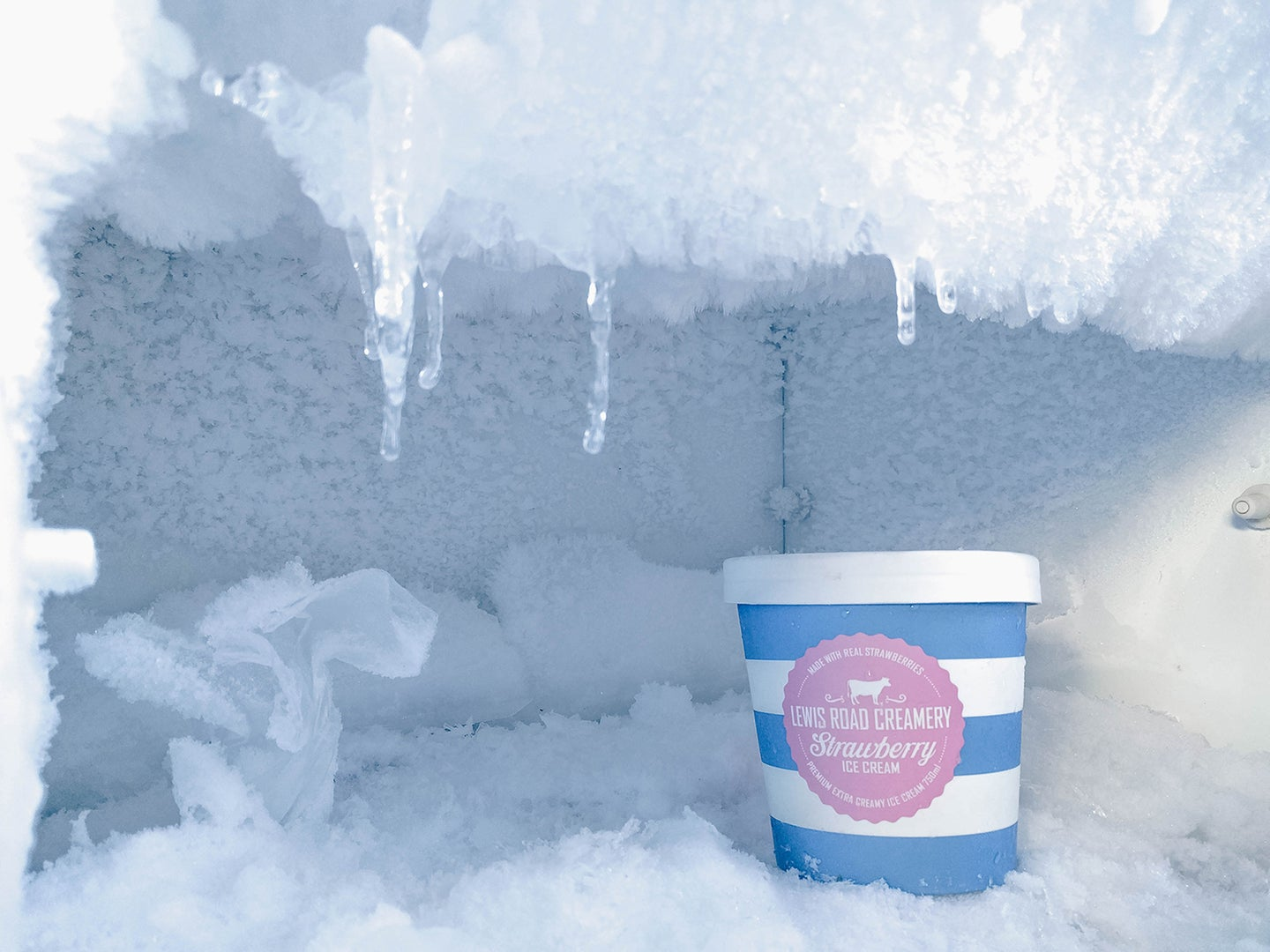 pint of ice cream in a freezer frozen over with ice