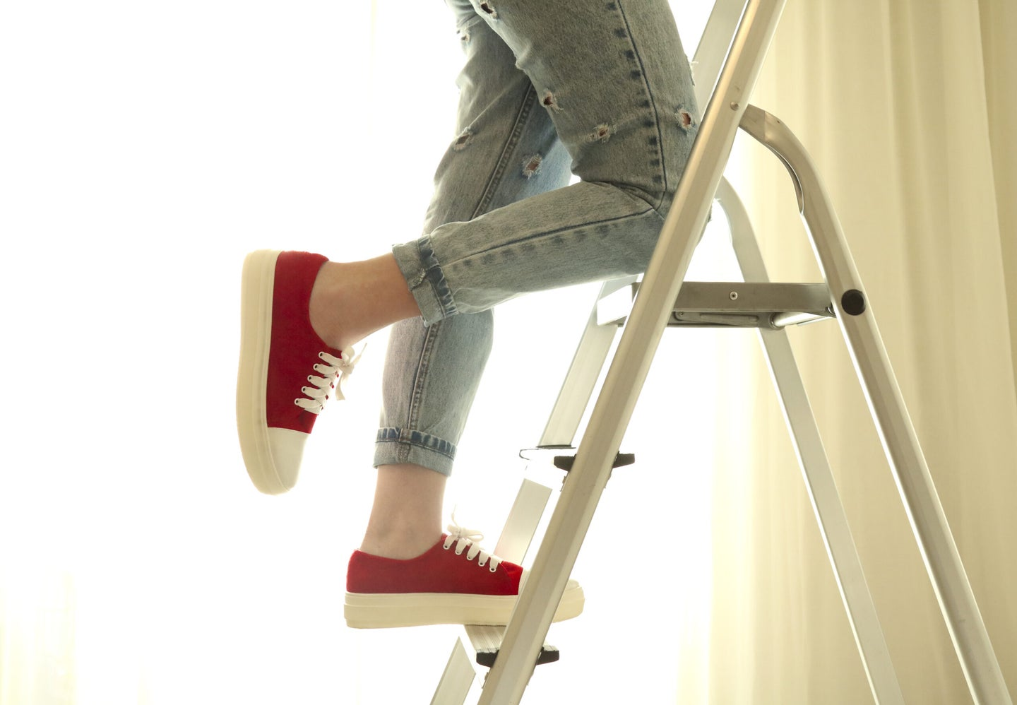 red shoes on a step ladder