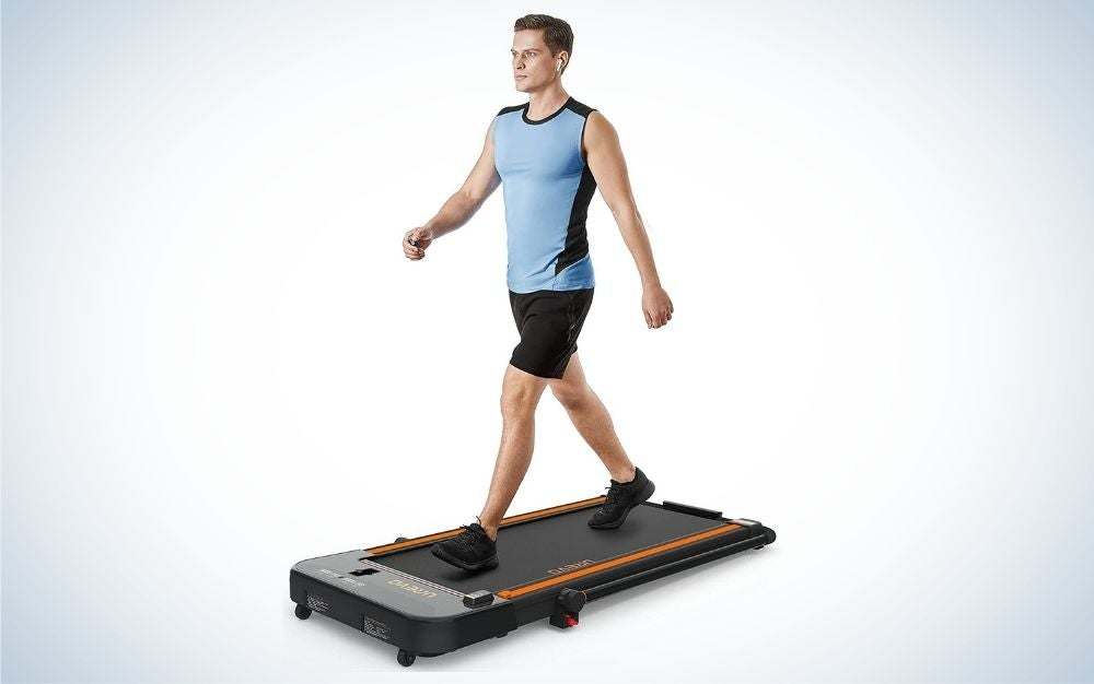 The UREVO 2-in-1 Under Desk Treadmill is best for home and office.