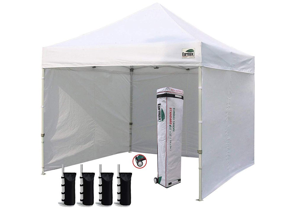 Commercial Instant Canopies with 4 Removable Zipper End Side Walls and Roller Bag