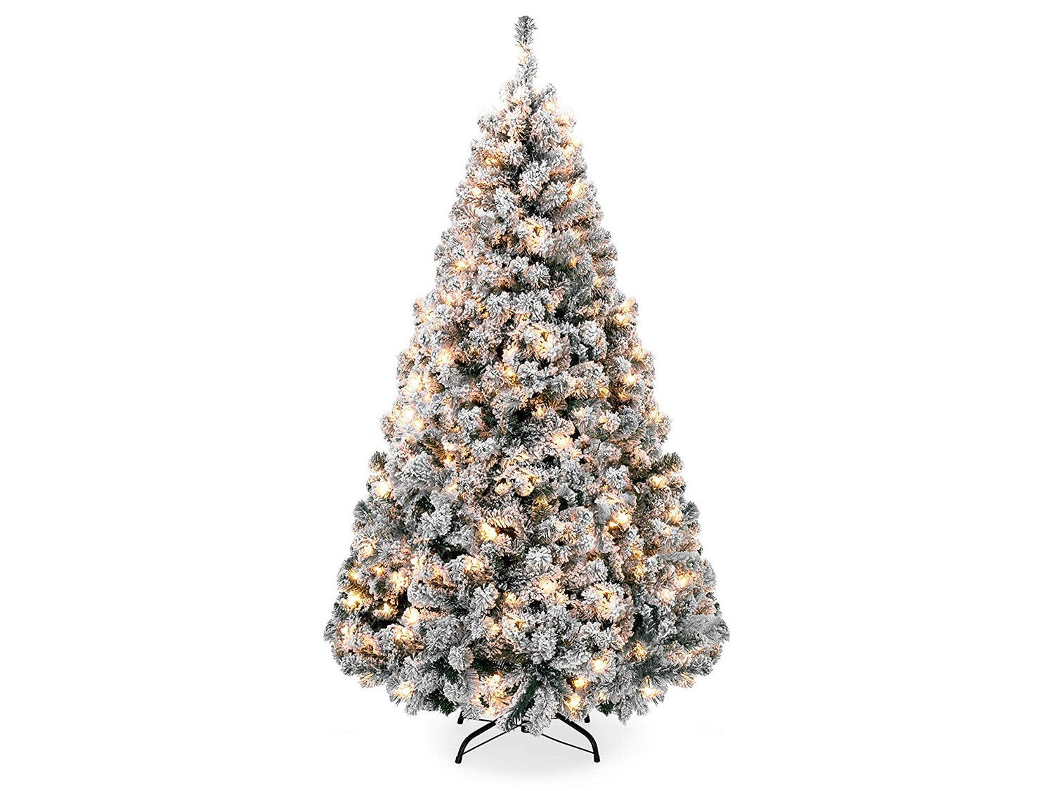 Best Choice Products 9ft Pre-Lit Snow Flocked Hinged Artificial Christmas Pine Tree