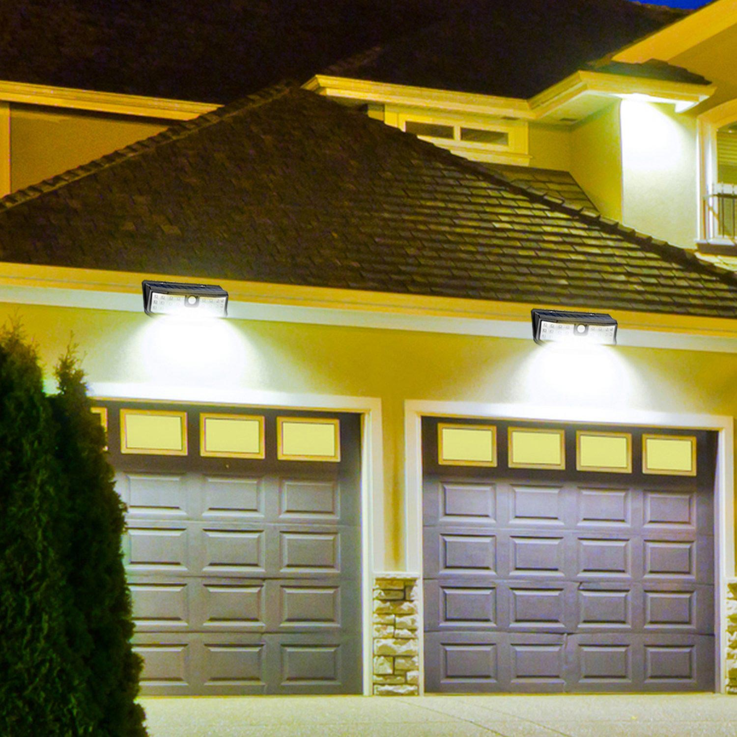 Motion-activated lights outside of a house.
