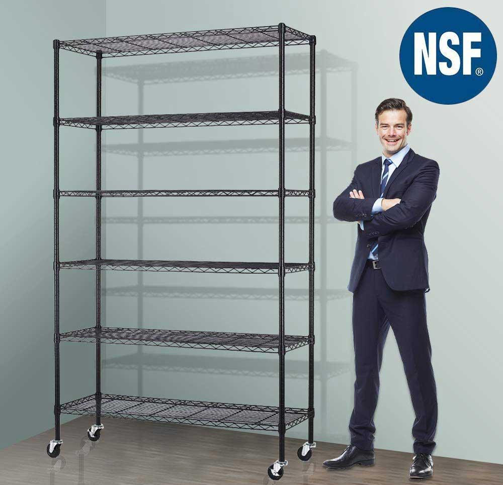 Storage Metal Shelf Wire Shelving Unit with Wheels Sturdy Steel Heavy Duty 6 Tier Layer Rack with Casters for Restaurant Garage Pantry Kitchen Garage Rack Black