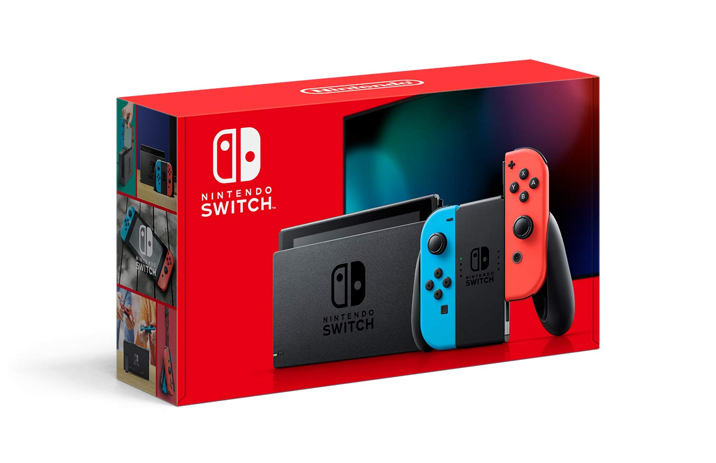 Nintendo Switch with Neon Blue and Neon Red Joy‑Con