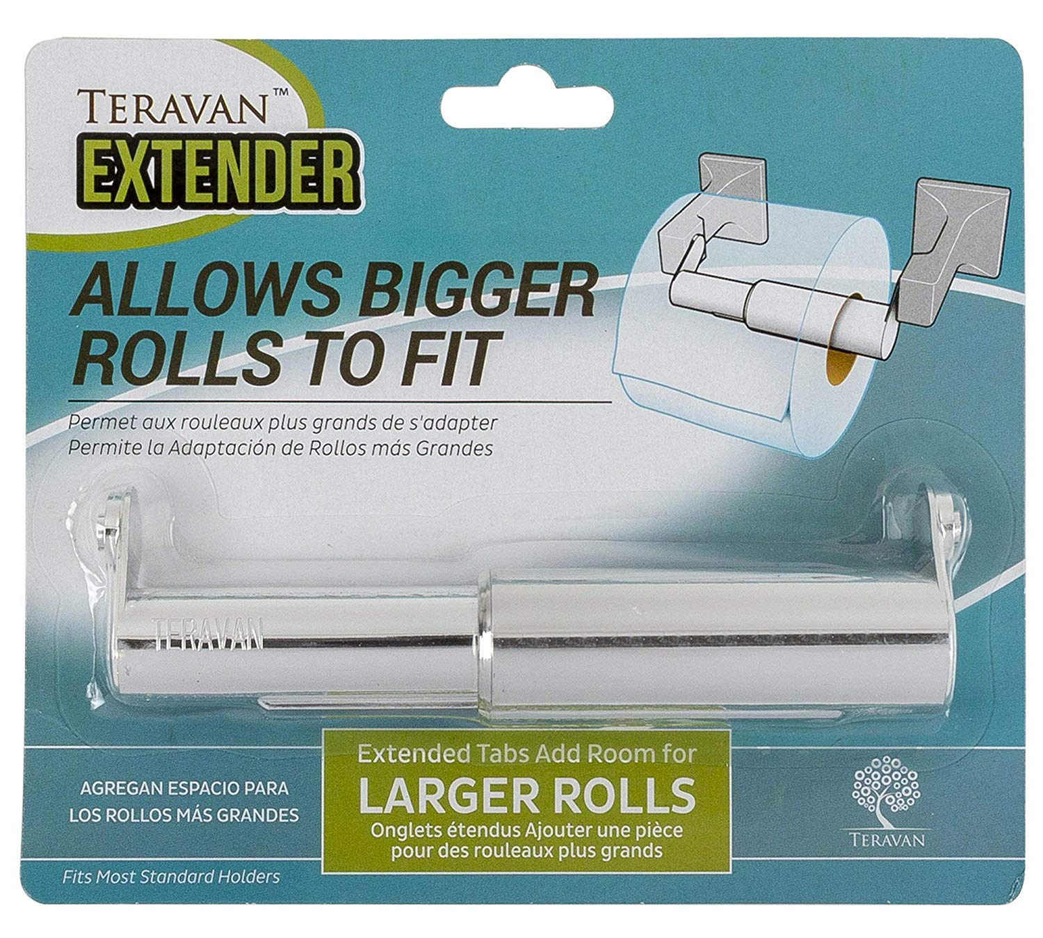 Teravan Extender for Extra Large Toilet Paper, Converts TP Holders to Fit Double Rolls and Triple Rolls