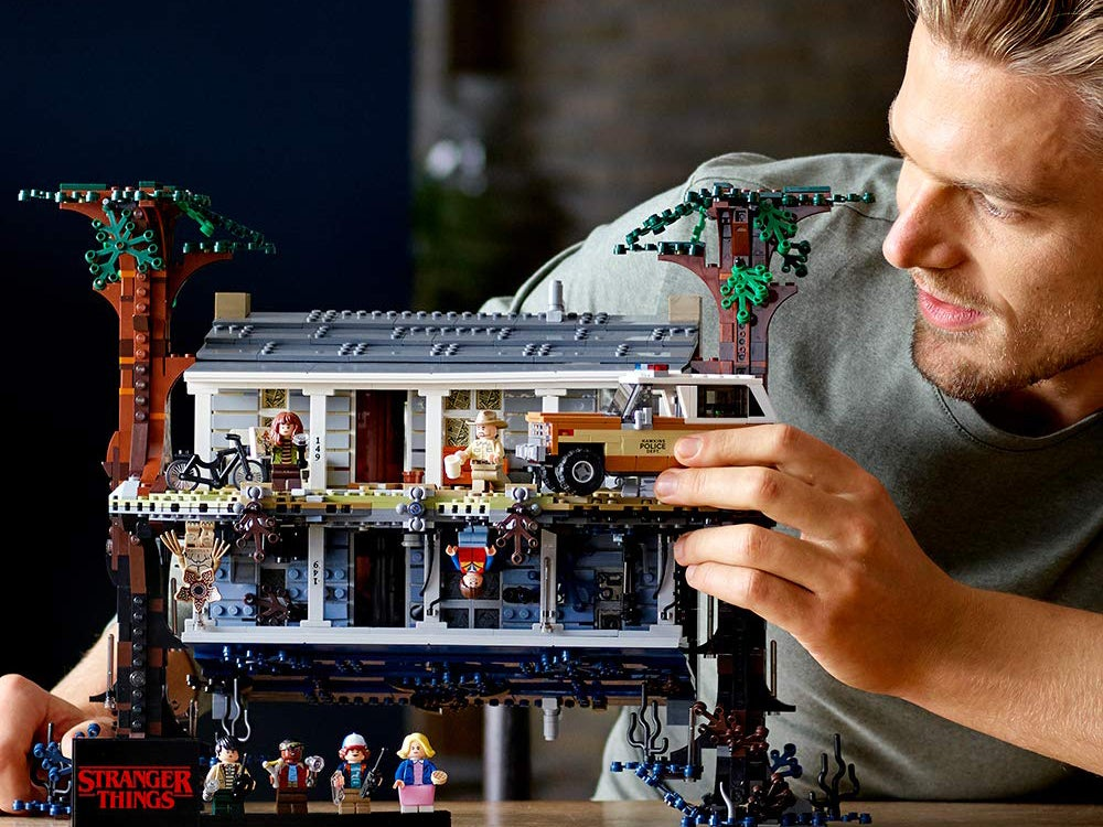 playing with the upside down stranger things lego set