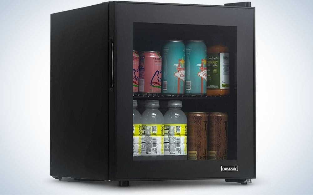 NewAir 60 Can Beverage Fridge with Glass Door is the best extra small mini fridge.