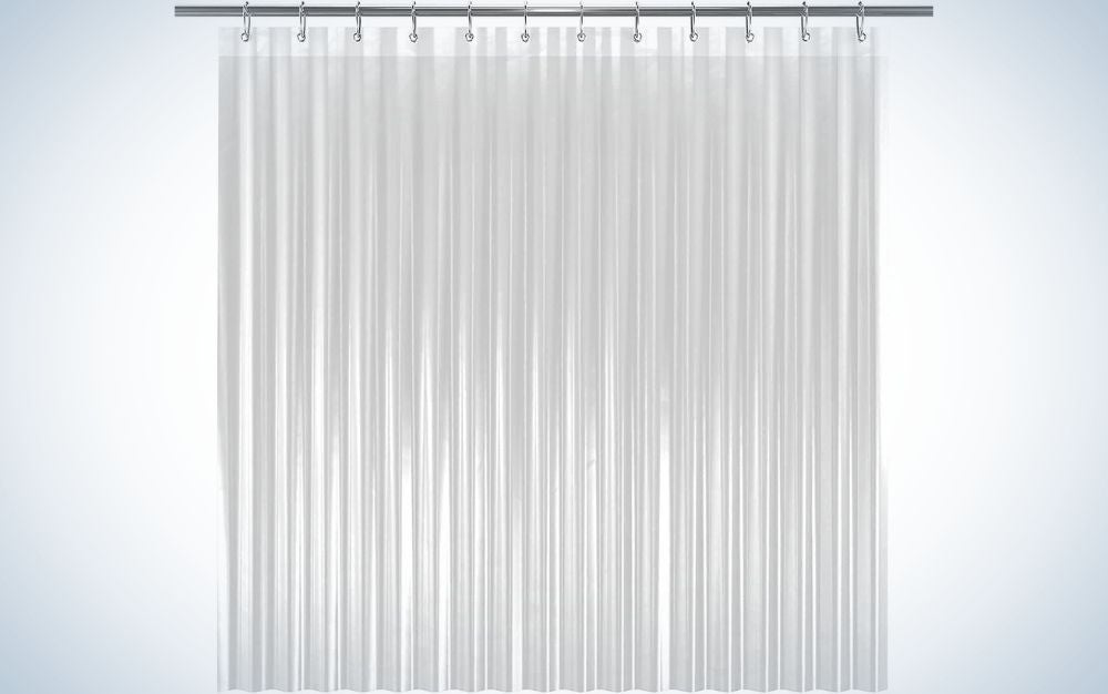 A shower curtain hanging on all in white color.