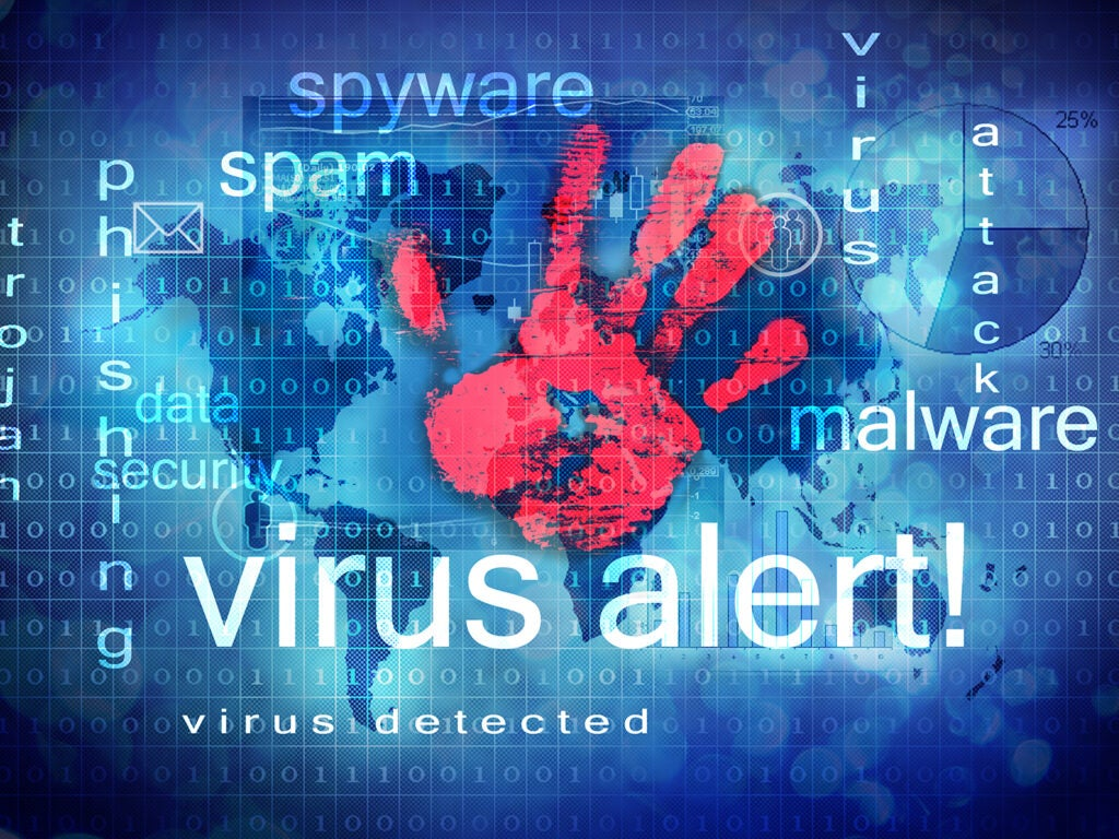 virus alert with red hand print