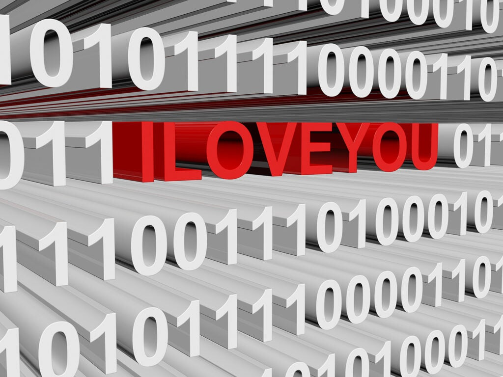I love you text with binary code
