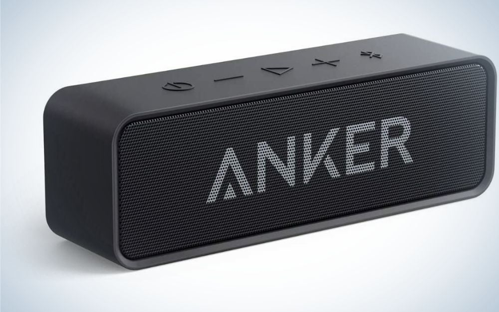 A black rectangular speaker with the ANKER logo in the middle and without a plug.