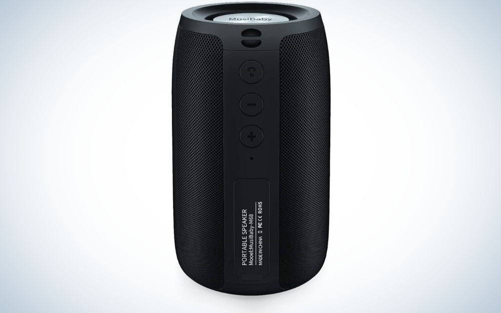 A black speaker in the shape of a cylinder and without a plug.