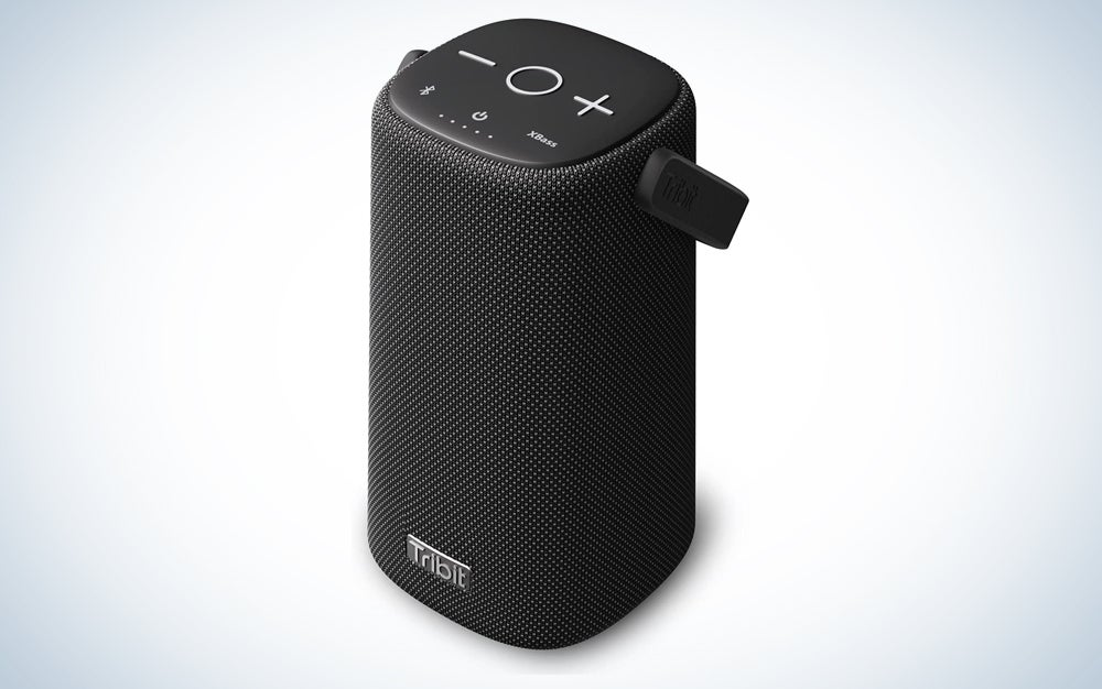 black speaker with a built-in handle