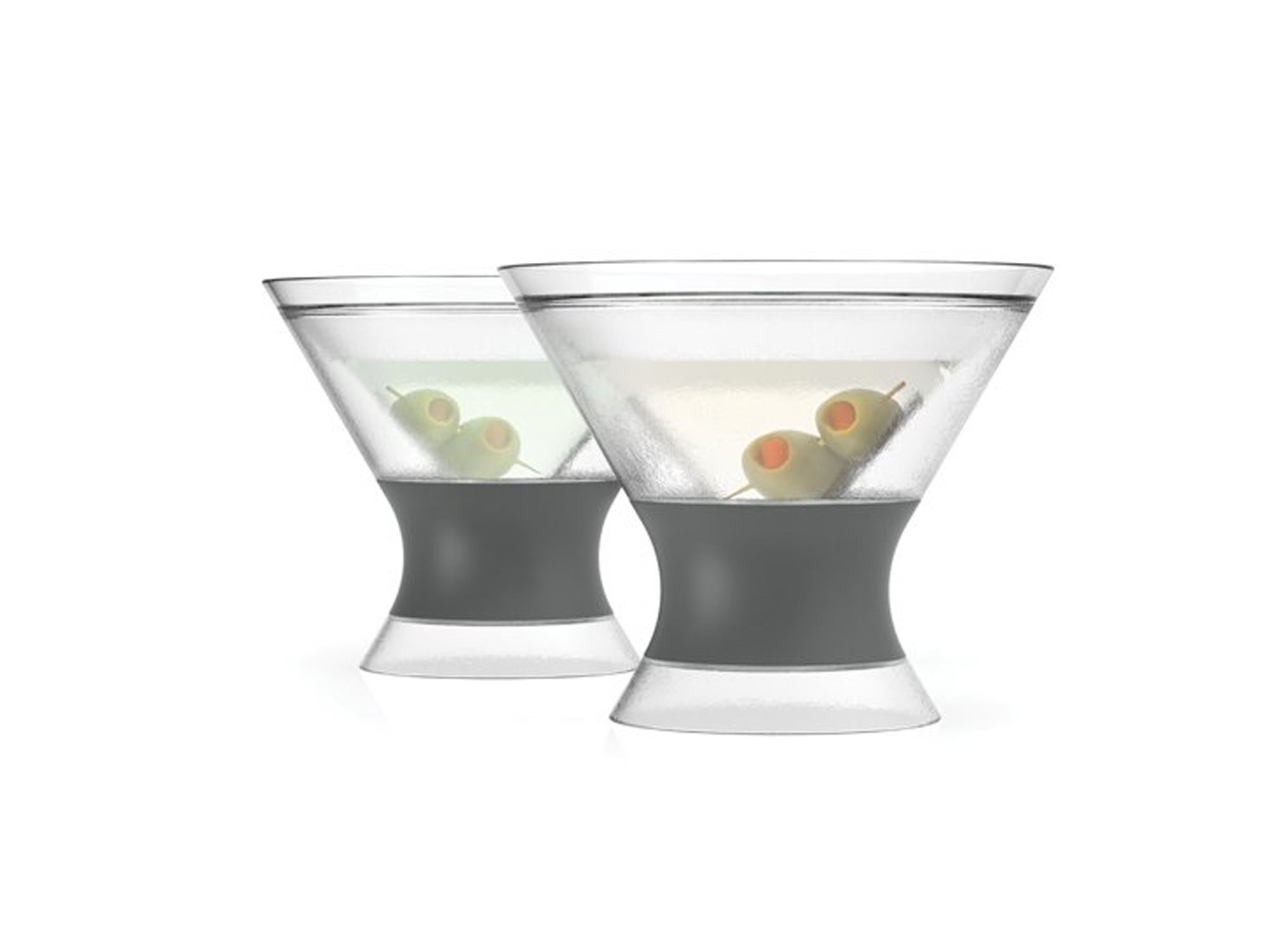 Freeze Stemless Martini, Insulated Plastic Cocktail Tumbler, Set of 2