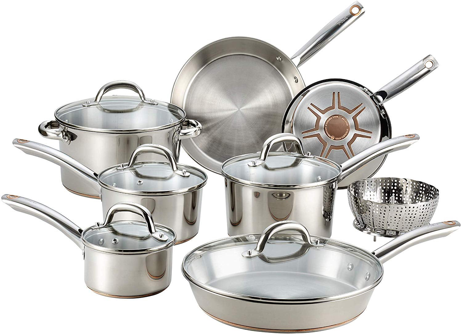 T-fal Ultimate Stainless Steel Copper Bottom 13 PC Cookware Set