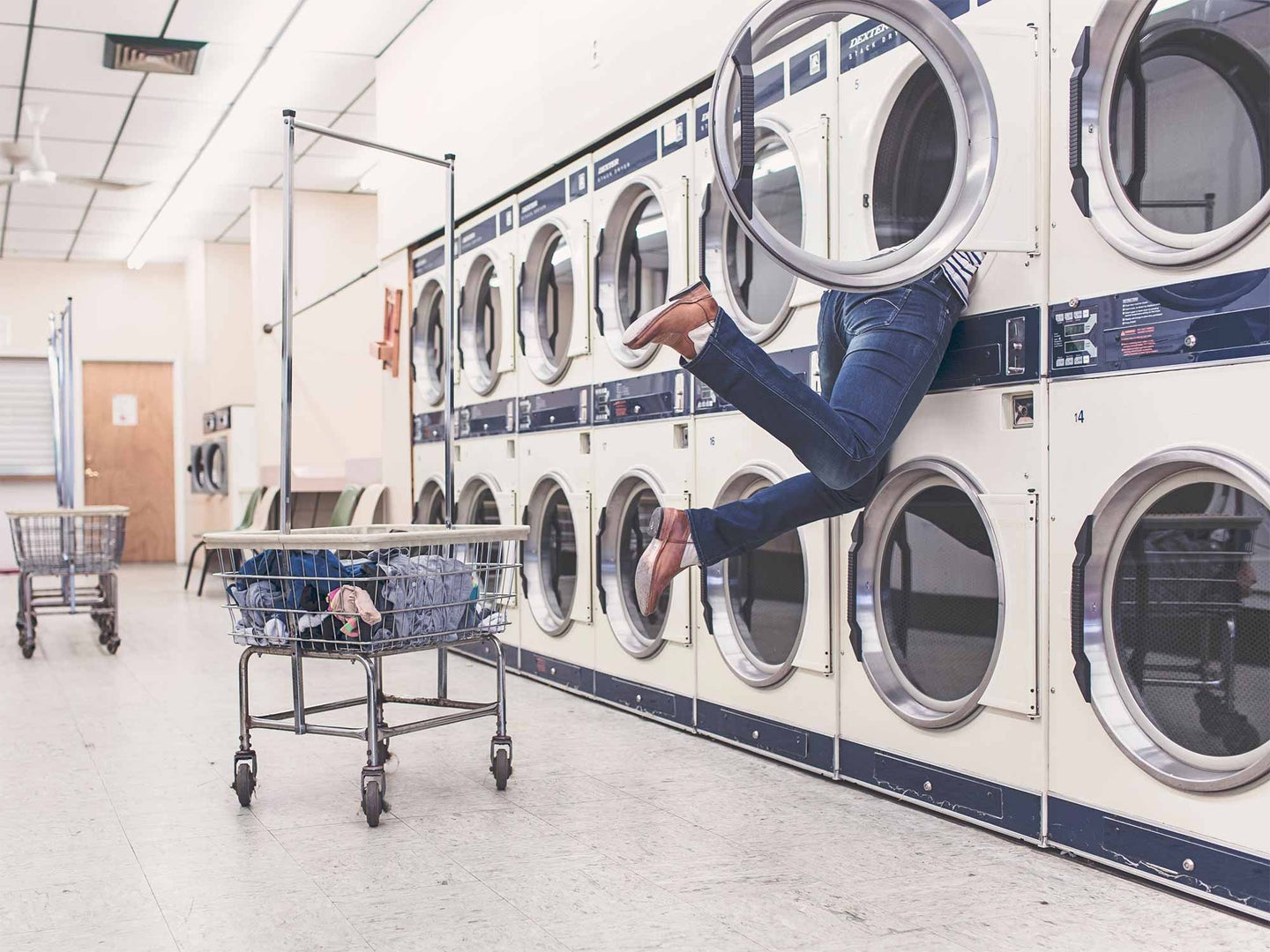 Person hanging out of a washing machine