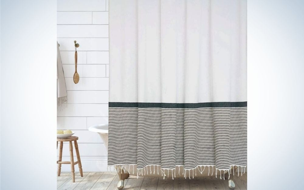 The Hall & Perry Modern Farmhouse Tassel Shower Curtain is the best cotton shower curtain.