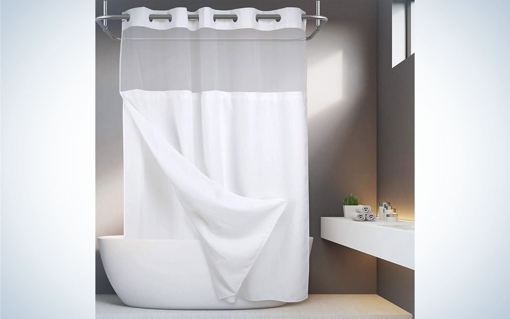 The River Dream Store Waffle Weave Shower Curtain is the best curtain and liner combo.