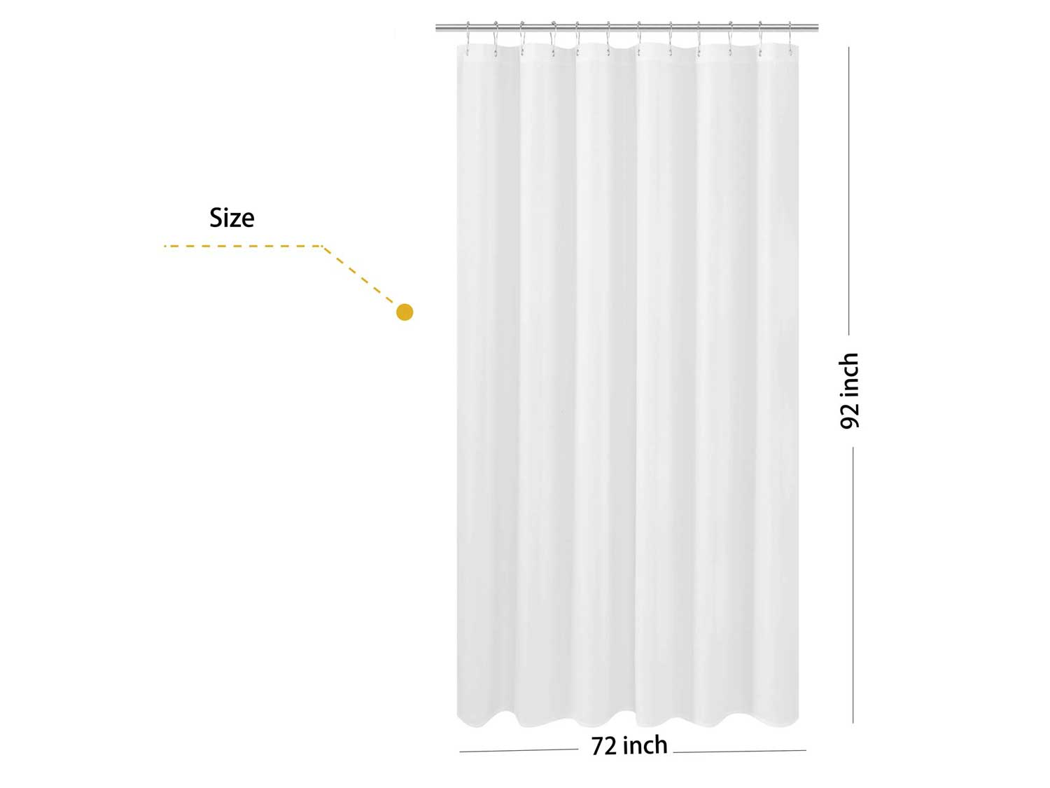 N&Y HOME Extra Long Fabric Shower Curtain or Liner