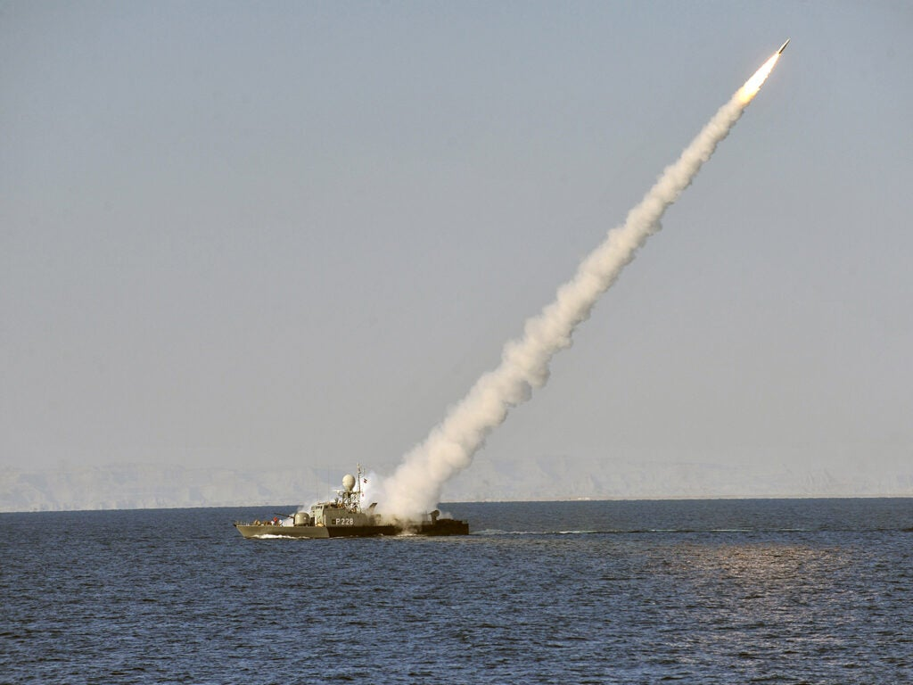 Iranian navy conducts the Velayat-90 naval wargames