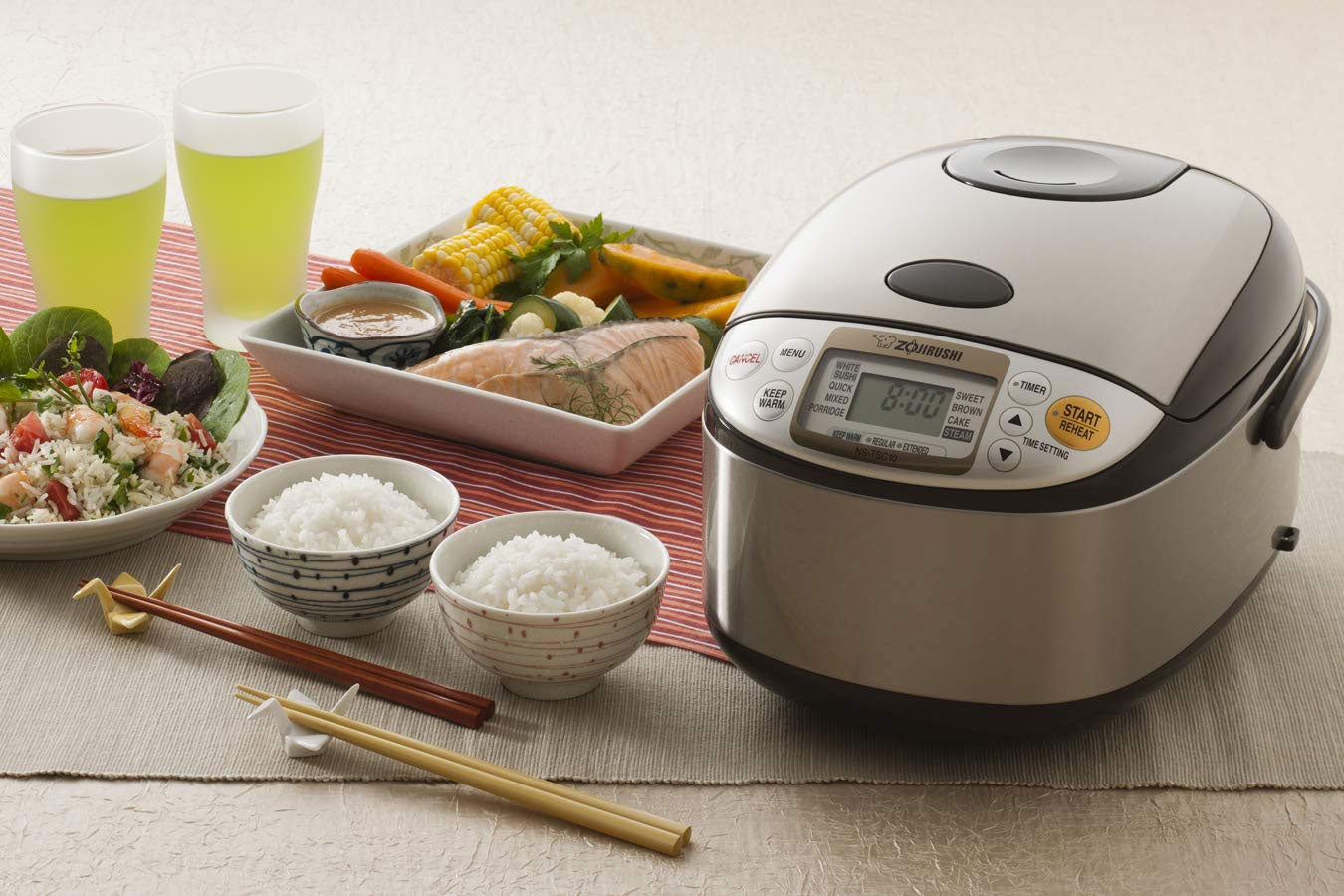 Rice cooker with two bowls of rice