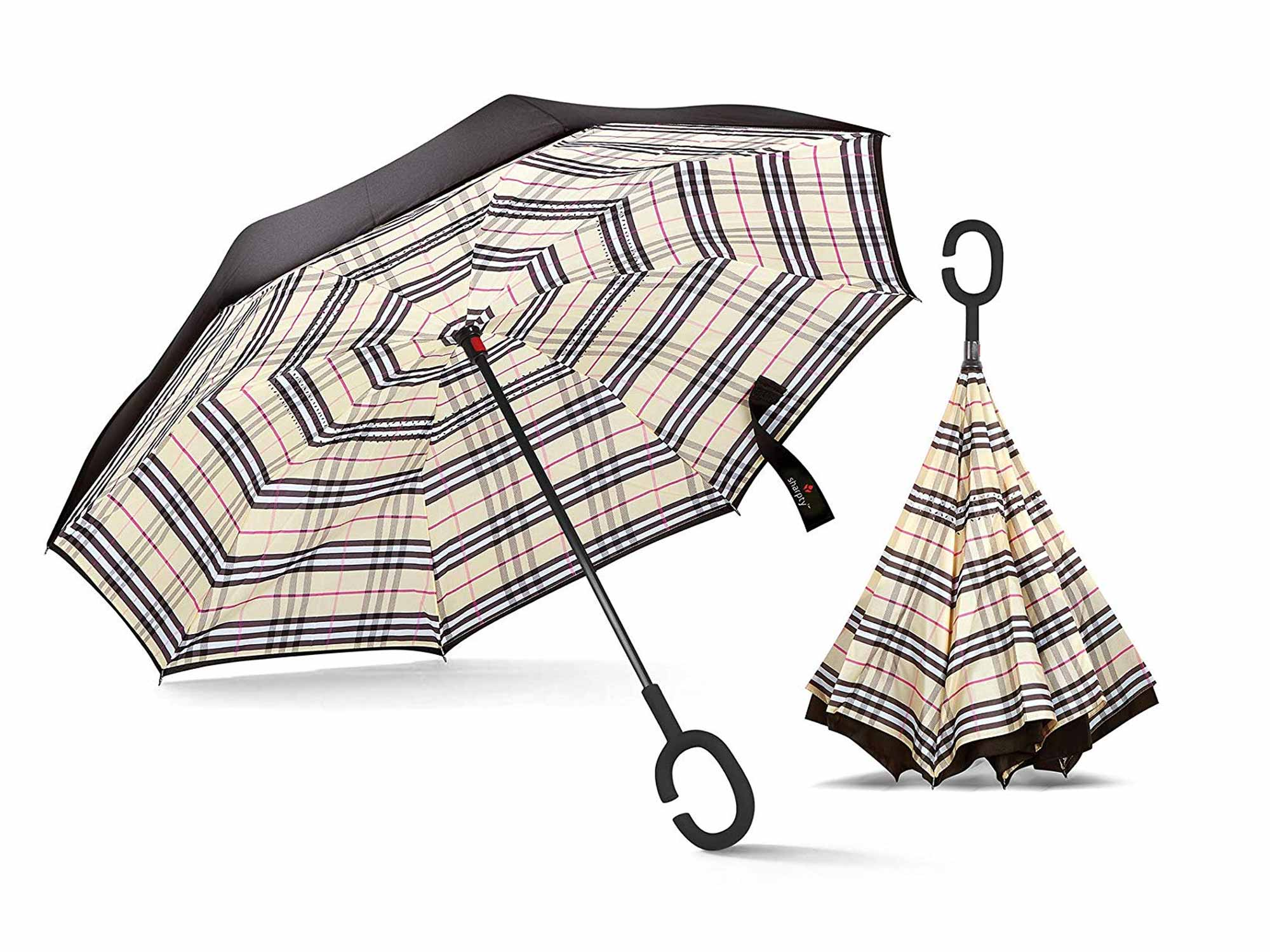 Plaid umbrella for one