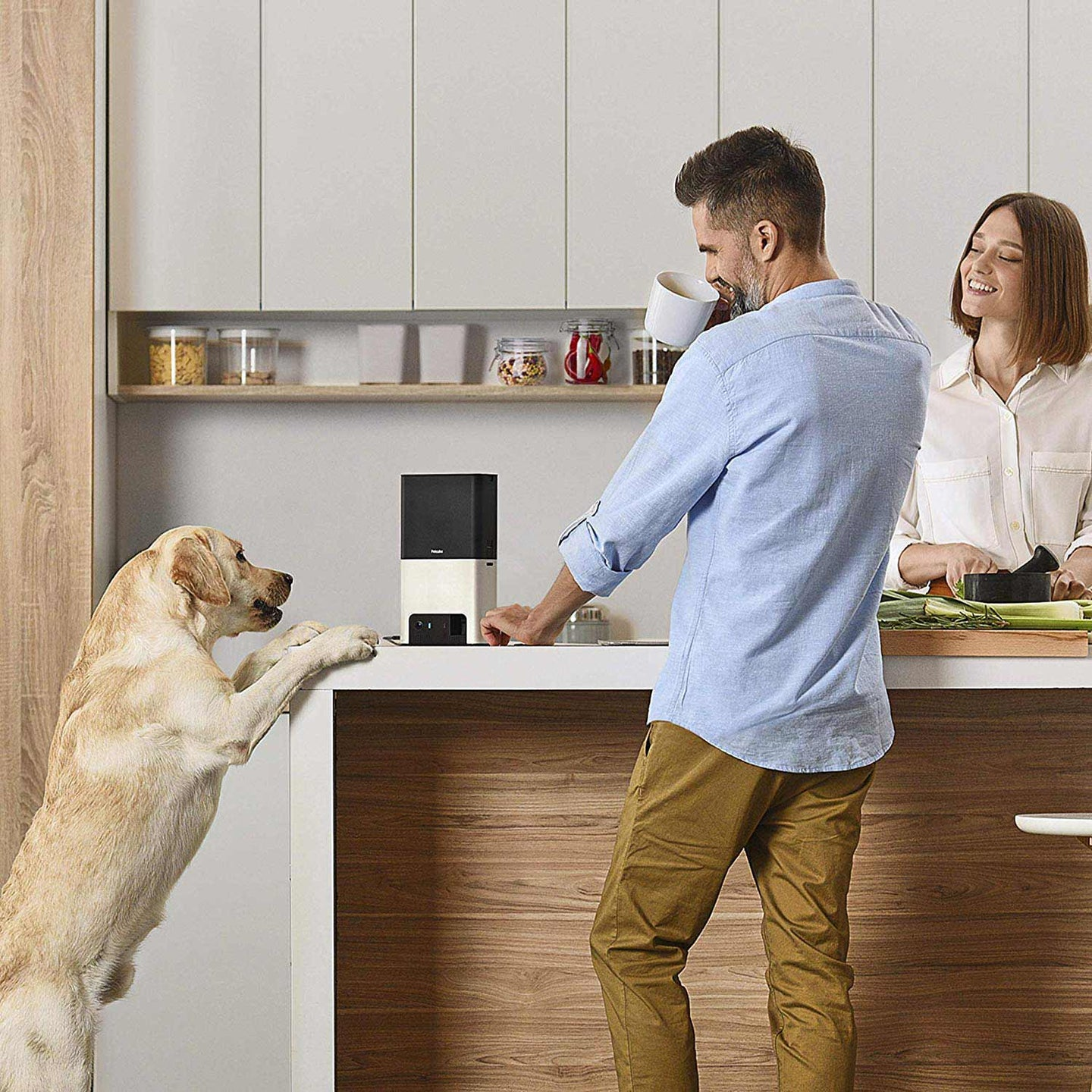Couple in a kitchen giving their dog treats