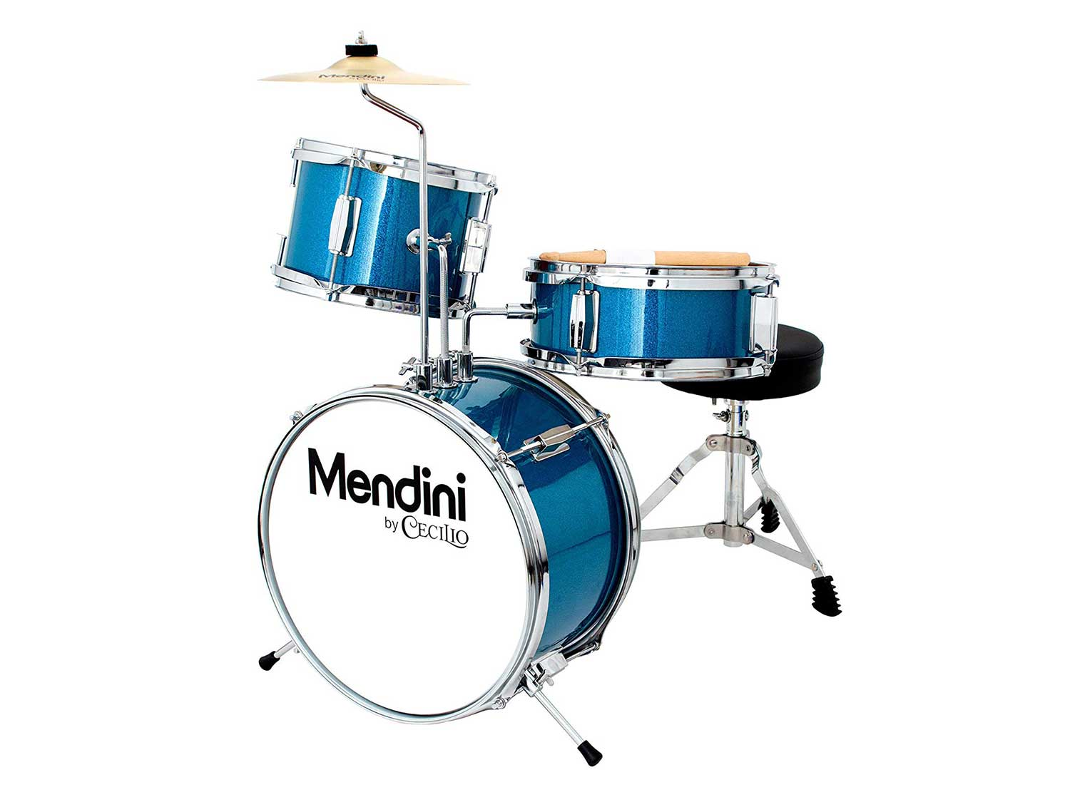 Mendini by Cecilio 13 inch 3-Piece Kids/Junior Drum Set with Throne, Cymbal, Pedal & Drumsticks, Metallic Blue