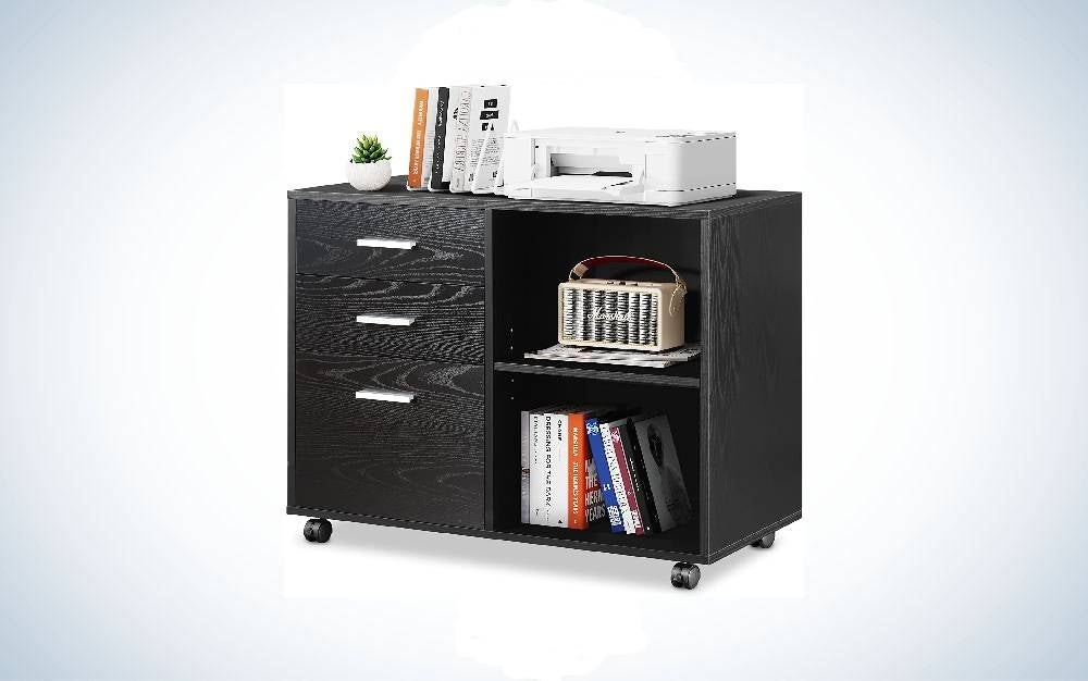 The Devaise Three- Drawer Wood File Cabinet is one of the best file cabinets and most versatile.