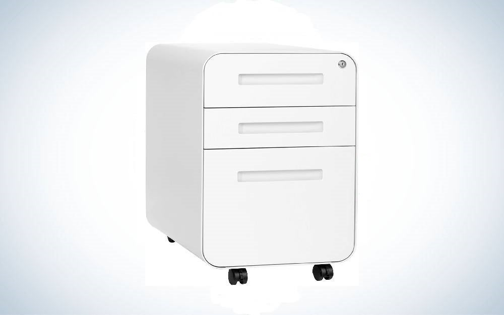 The Stockpile 3-Drawer File Cabinet is the best file cabinet with casters