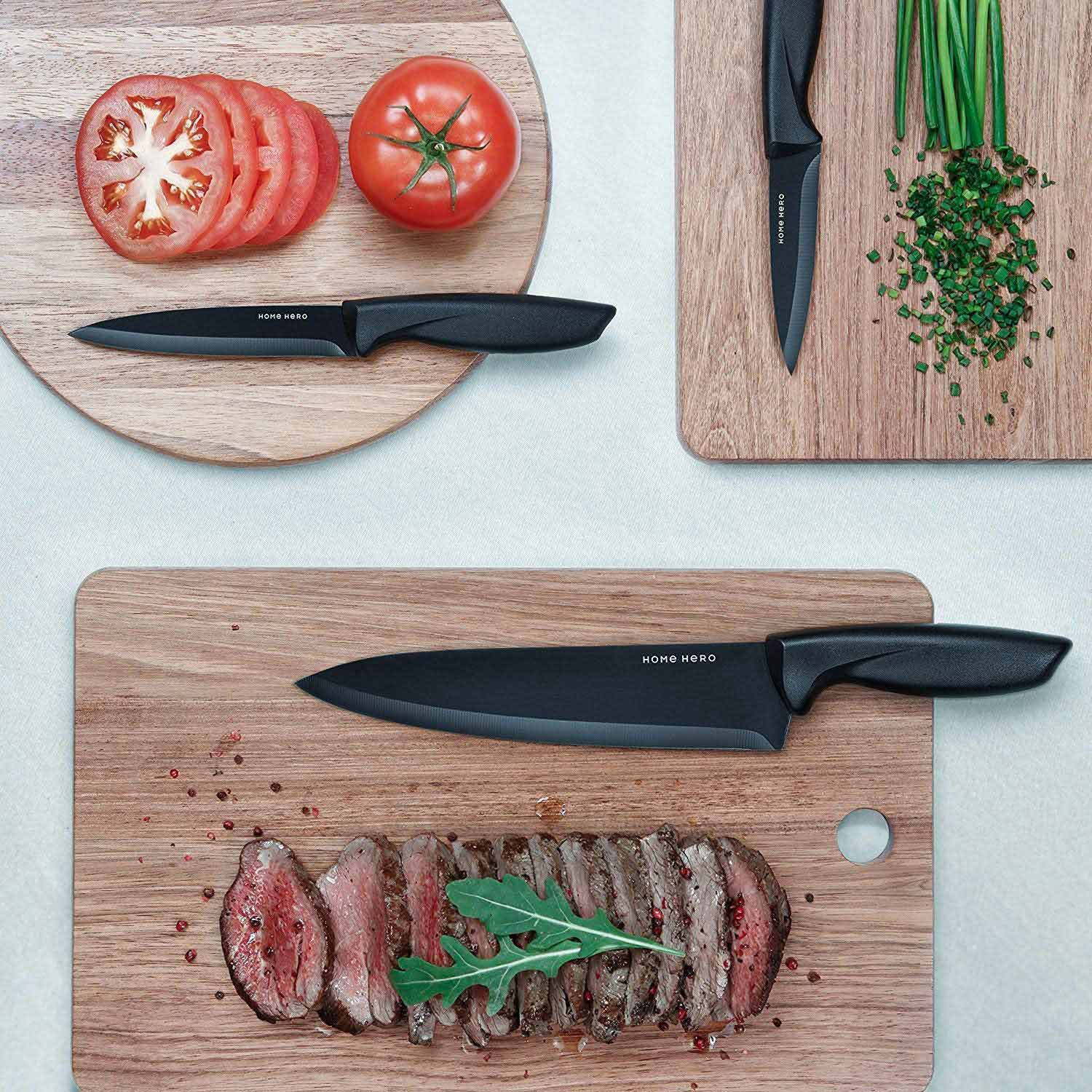 Cutting boards with food and knives