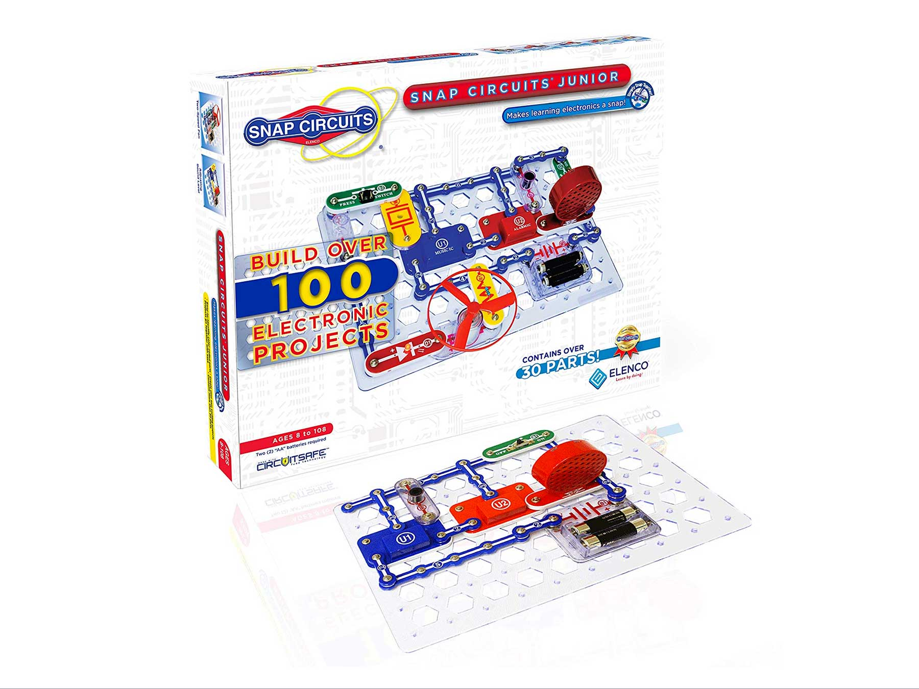 Snap Circuits Jr. SC-100 Electronics Exploration Kit, Kids Building Projects Kits, Stem Engineering Toys for Kids