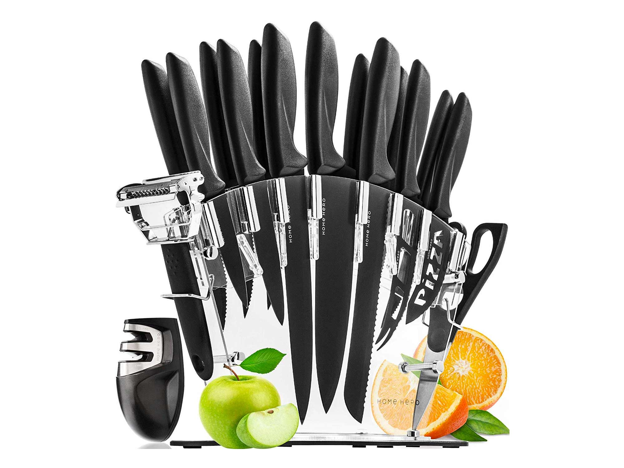 Stainless Steel Knife Set 13 Piece Set Kitchen Knives with Bonus Acrylic Stand, Scissors, 2 Function Peeler and 2 Stage Sharpener by Home Hero