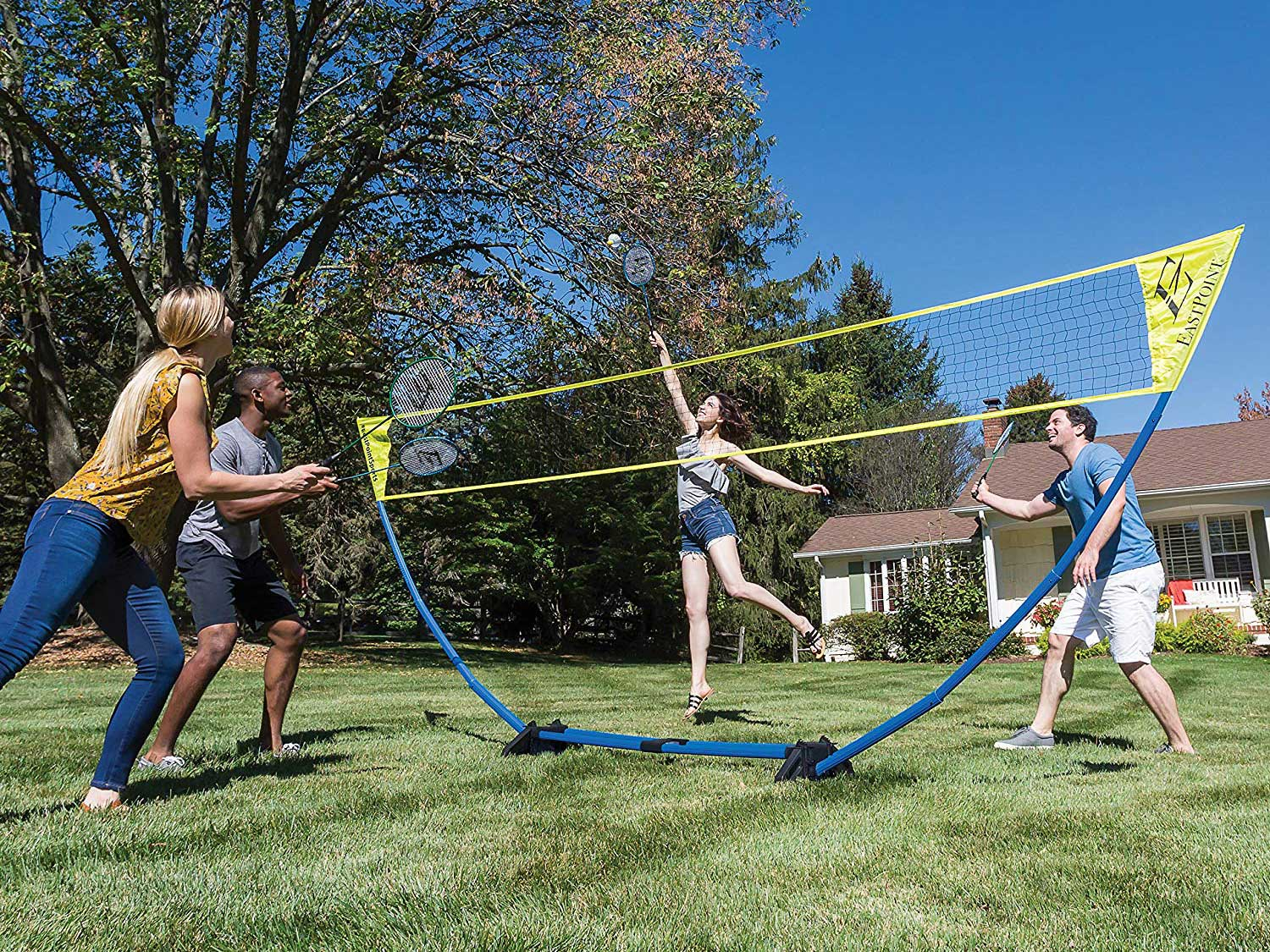 Playing Badminton with a net and set.