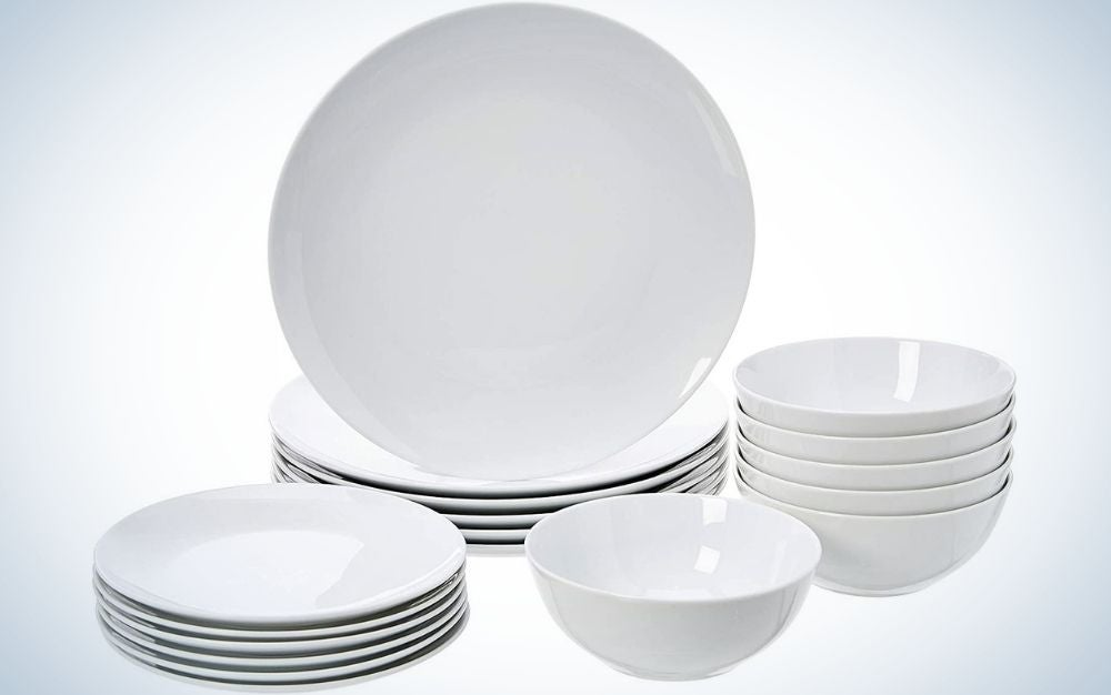 Amazon Basics 18-piece Dinnerware Set, White Porcelain Coupe, is best for starting out.
