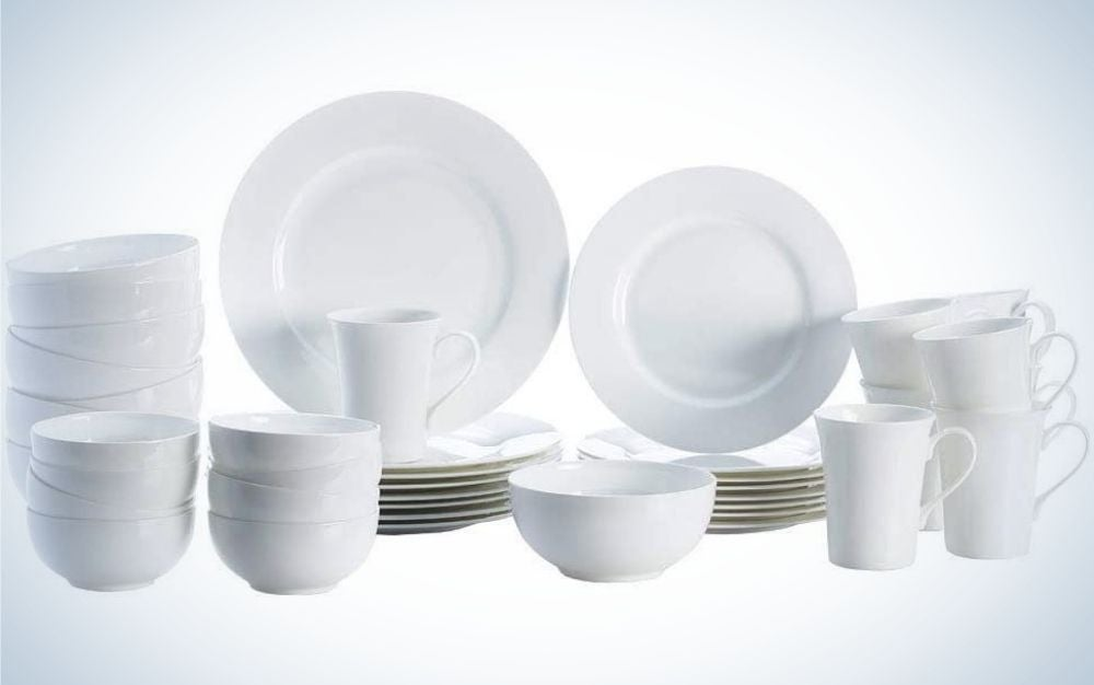 Mikasa Delray 40-piece Bone China Dinnerware Set, Service for 8, is best overall.