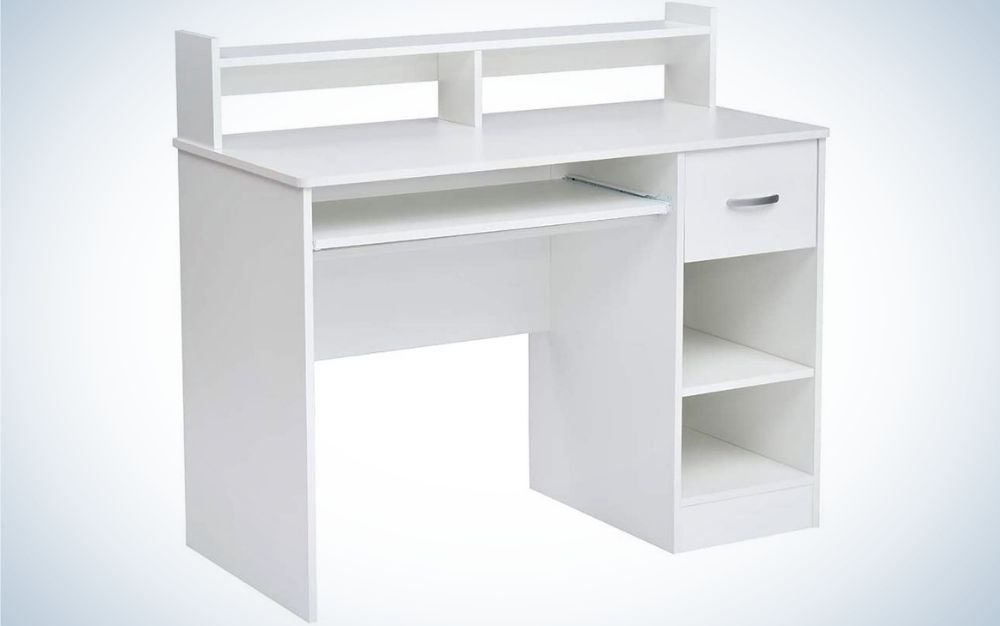 ROCKPOINT Axess Computer Desk has the best storage.