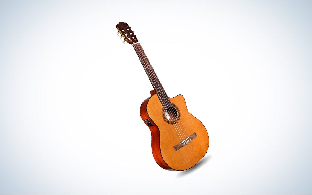 Cordoba C5-CE Acoustic Electric Guitar is the best with nylon strings.