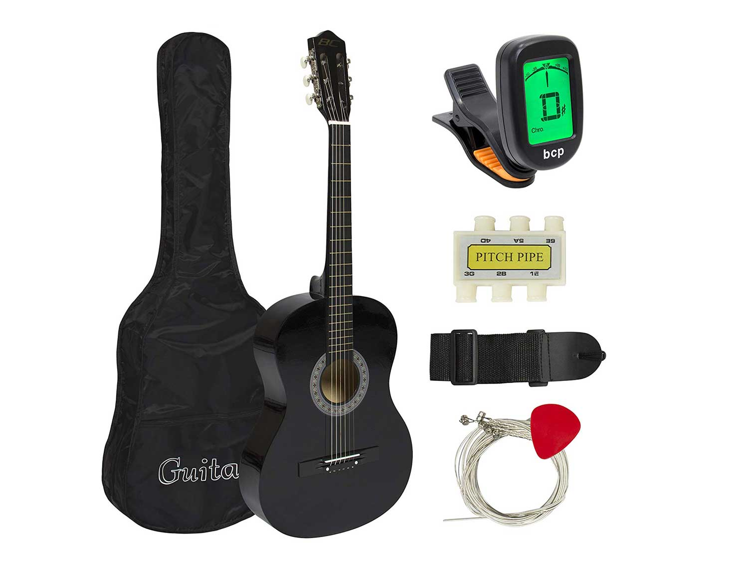 Best Choice Products 38in Beginner Acoustic Guitar Starter Kit w/ Case, Strap