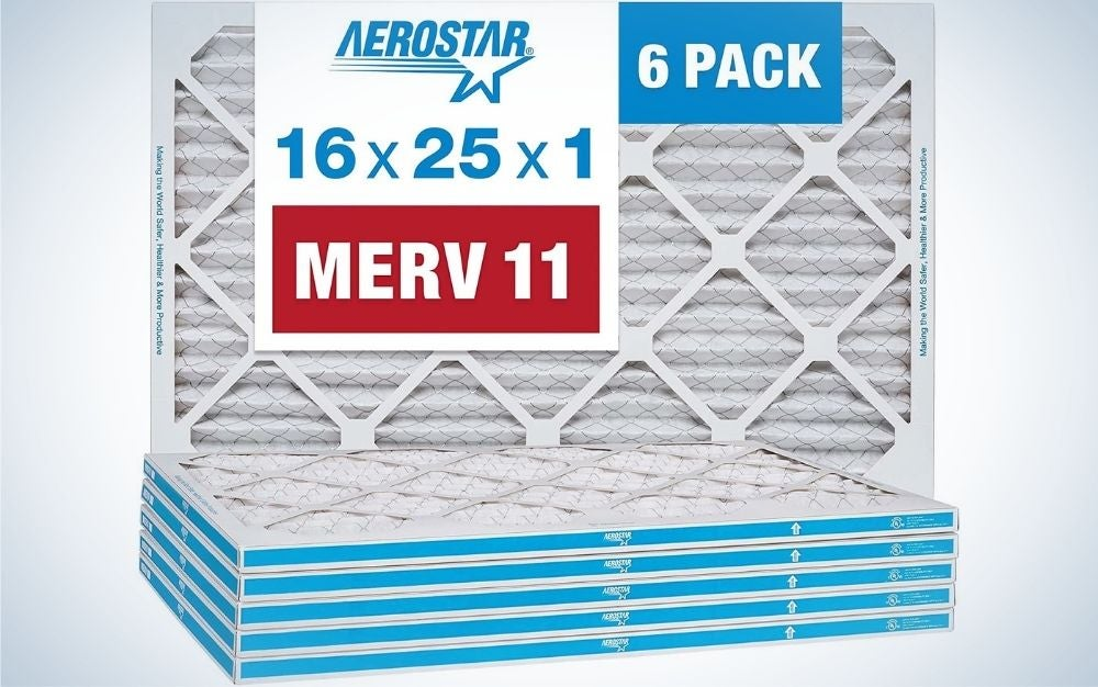 The Aerostar 16x25x1 MERV 11 Pleated Air Filter is the best value furnace filter.