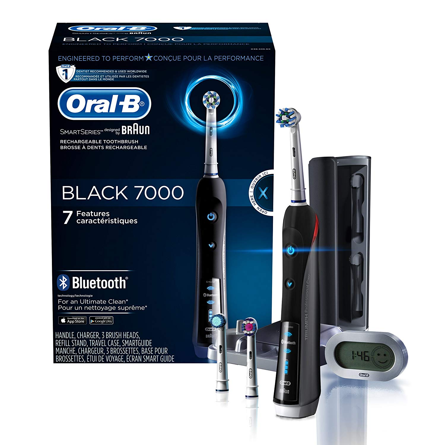 Electric Toothbrush, Oral-B Pro 7000 SmartSeries Black Electronic Power Rechargeable Toothbrush with Bluetooth Connectivity Powered by Braun (Packaging May Vary)