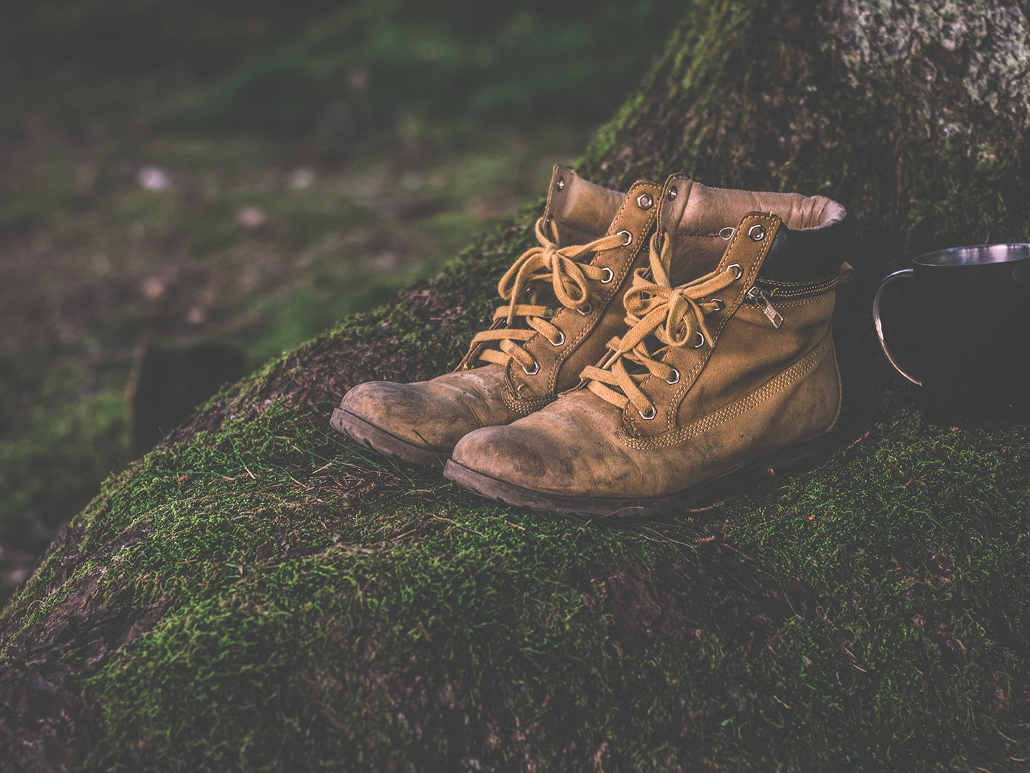A pair of boots sitting outside