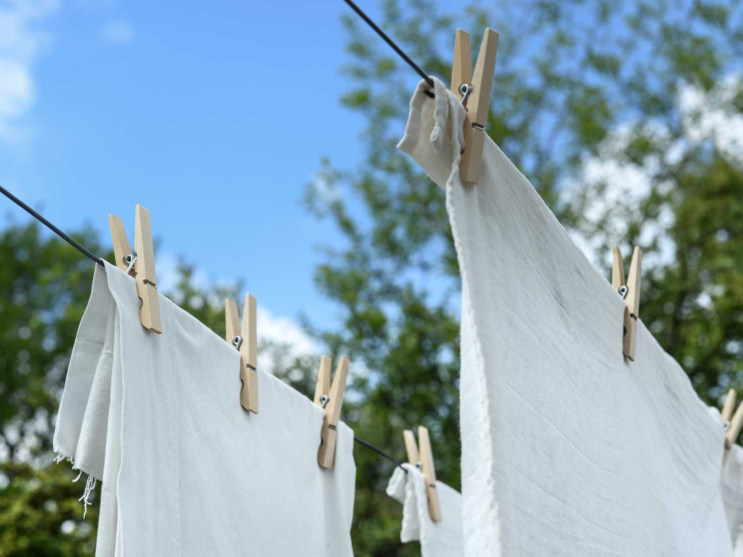 Towel linens hanging to dry.