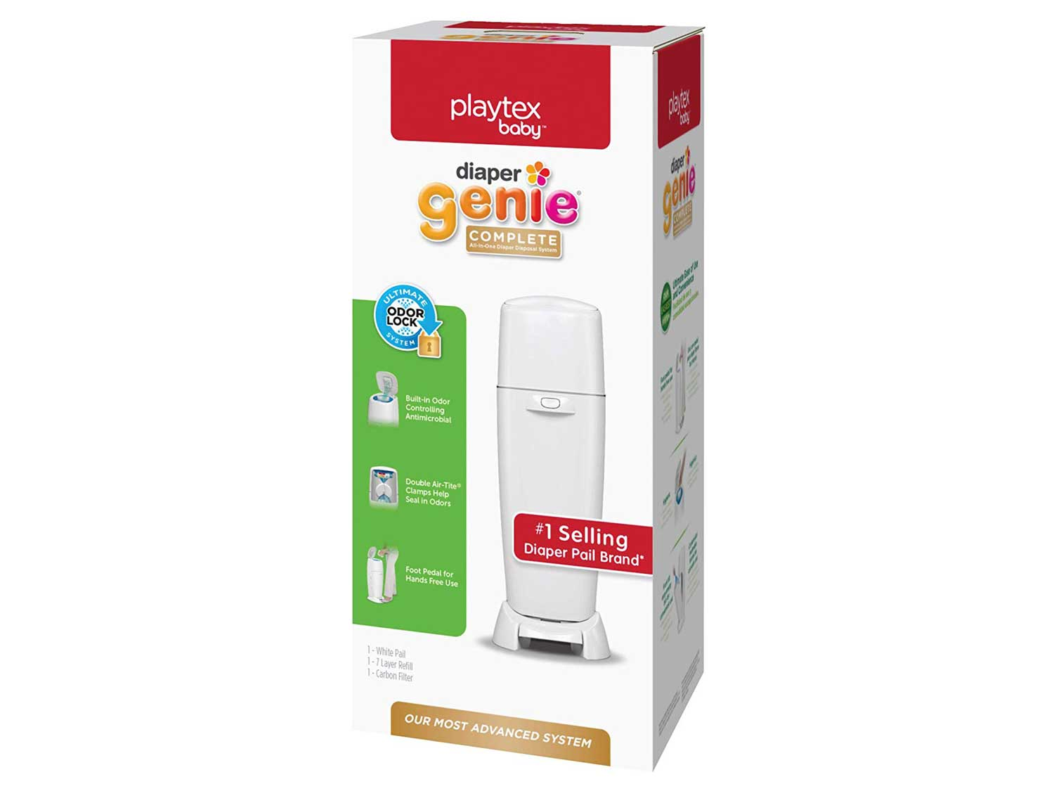 Playtex Diaper Genie Complete Diaper Pail, Fully Assembled, with Odor Lock Technology