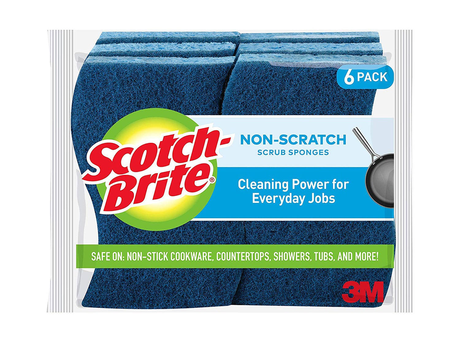 Scotch-Brite Non-Scratch Scrub Sponges, Cleaning Power for Everyday Jobs, Stands Up to Stuck-on Grime, 6 Scrub Sponges