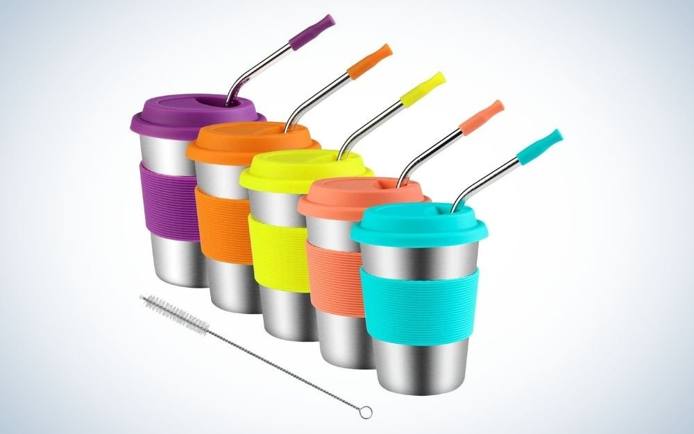 The Kereda Stainless Steel Cups With Silicone Lids, Straws & Sleeves is the best family set.