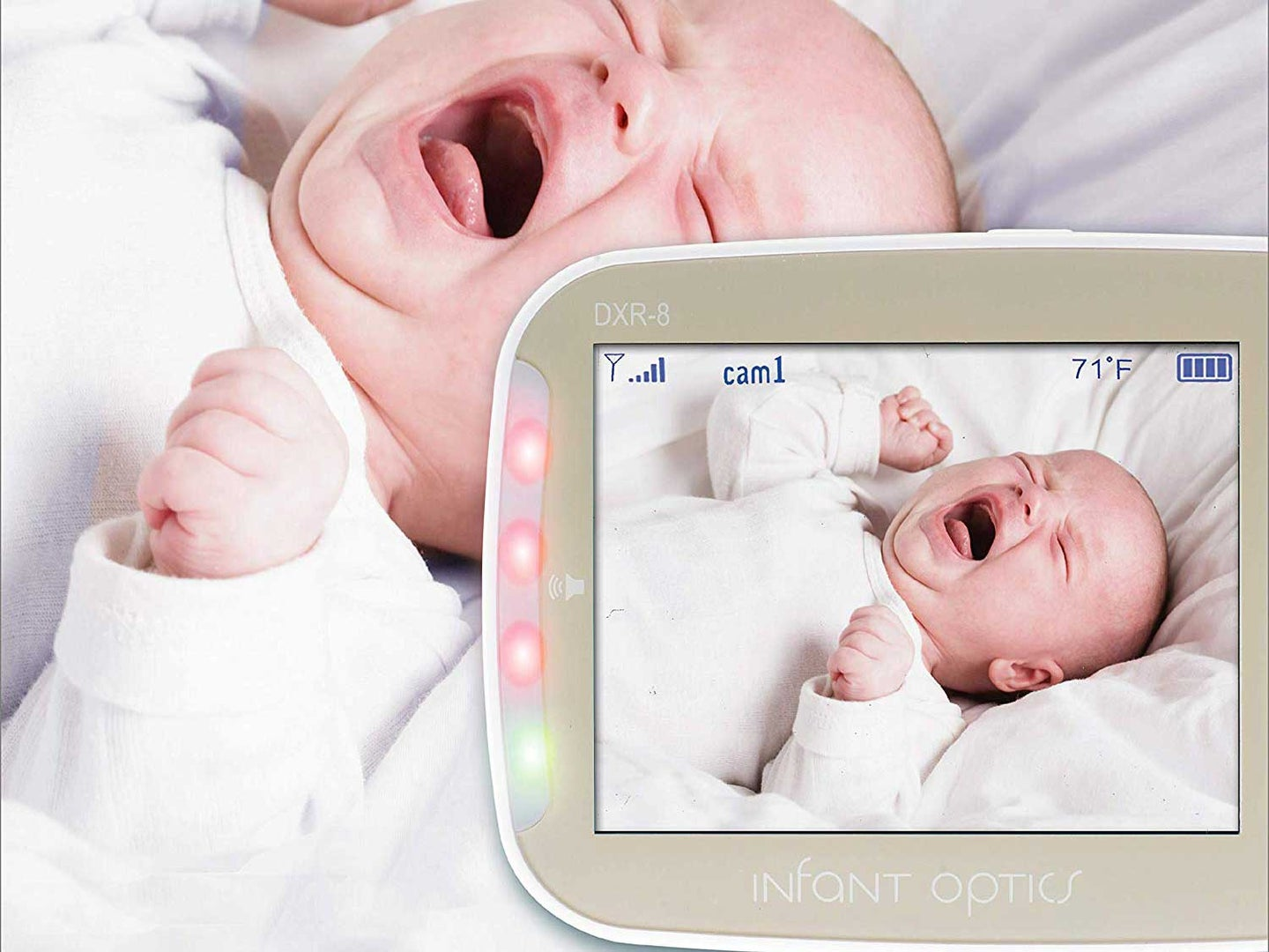 Baby cries watched by baby monitor