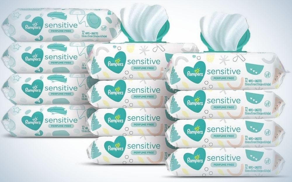 Pampers Sensitive Baby Wipes are one of the best diaper supplies.