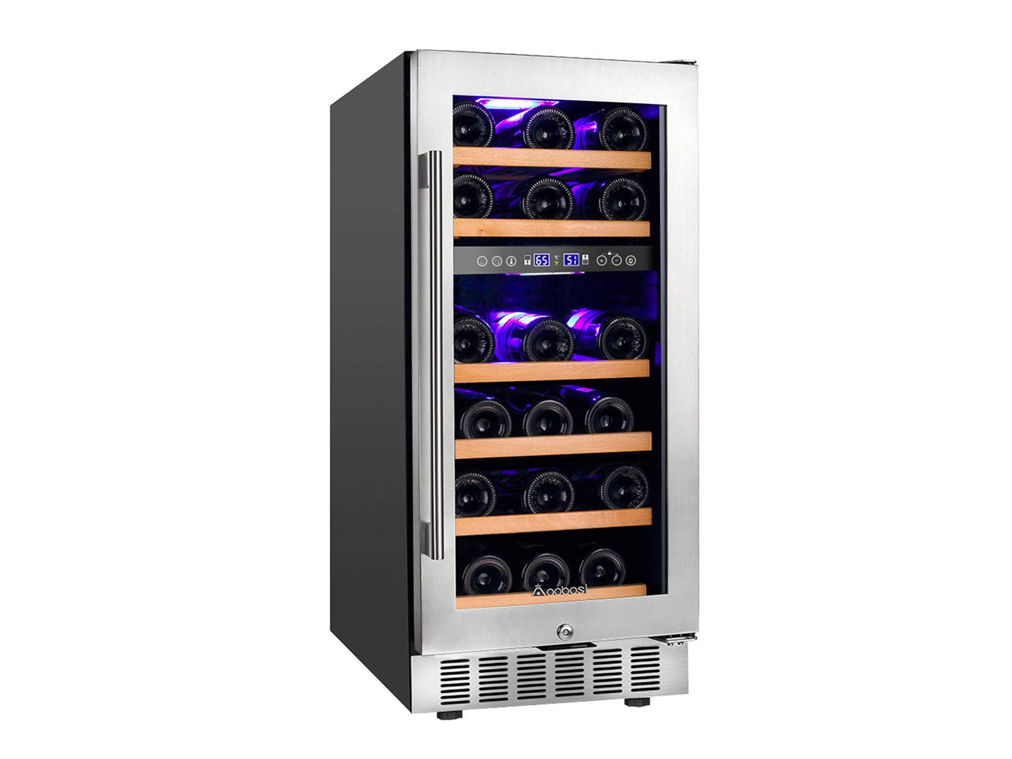 Aobosi 15 Inch Wine Cooler, 28 Bottle Dual Zone Wine Refrigerator with Stainless Steel Tempered Glass Door